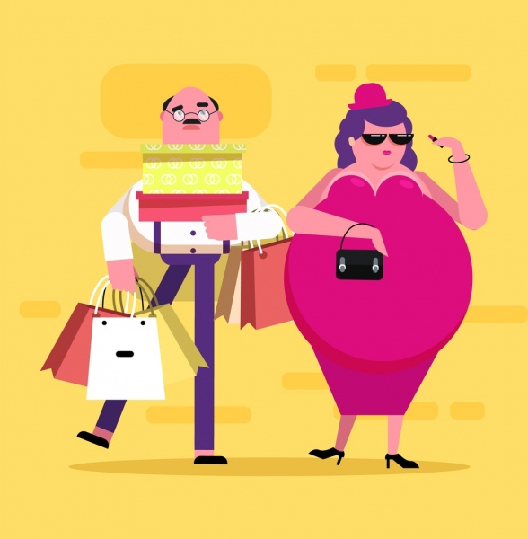 shopping background wife husband icons funny cartoon design