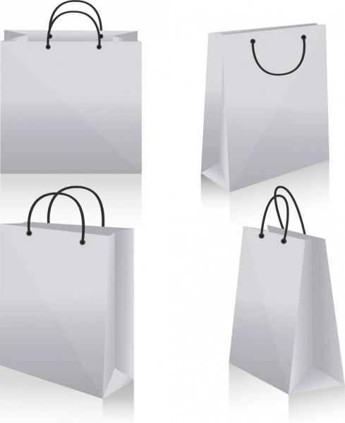 shopping bag icons design 3d white blank sketch