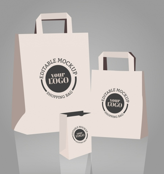 shopping bag templates 3d design circle decoration