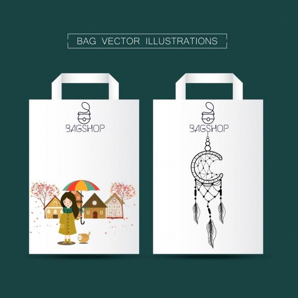 shopping bags design seasonal dream catcher icon decoration