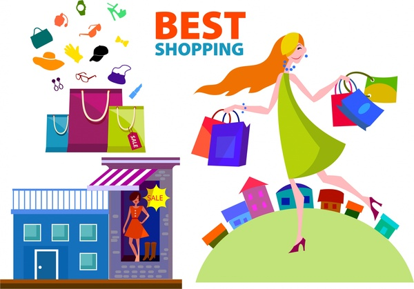 shopping banner design with lady with shopping bags