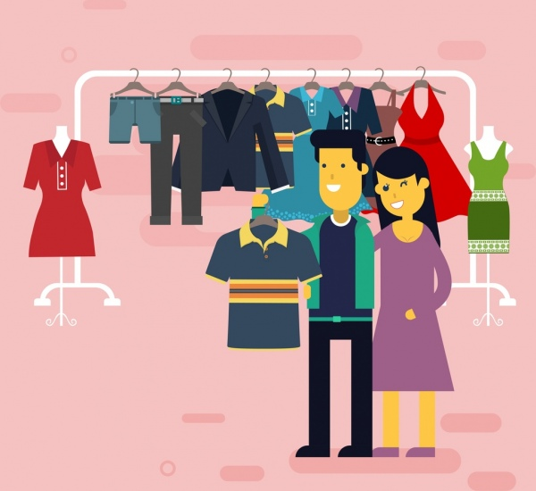 shopping drawing couple clothes store icons colored cartoon