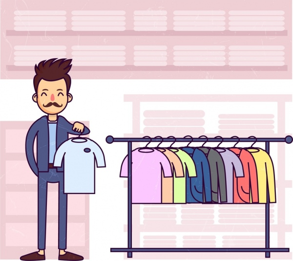 shopping drawing man clothes display icons colored cartoon