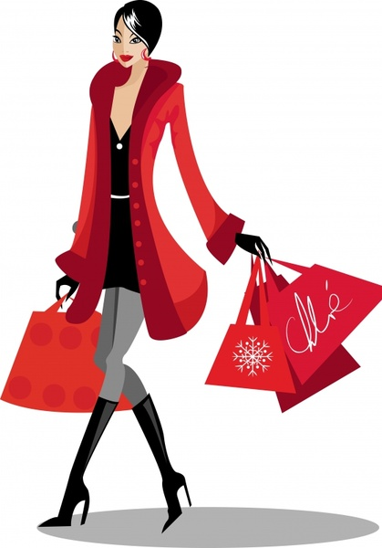 shopping icon elegant modern lady sketch cartoon character