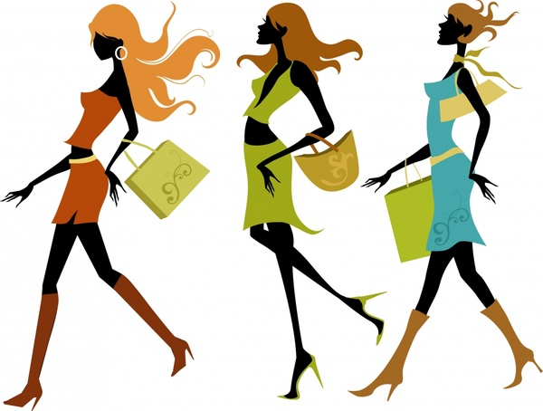 shopping girls icons colorful modern decor silhouette design