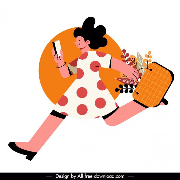 shopping icon hurry woman sketch cartoon design