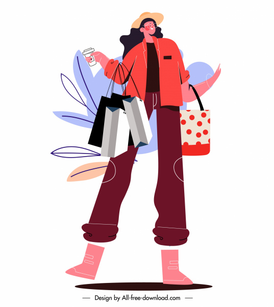 shopping lady icon colorful handdrawn cartoon sketch
