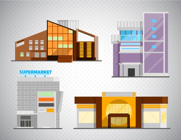 Shopping Mall Icons Design With Colored Sketches Free Vector 79393KB