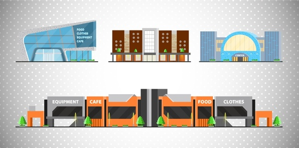 Shopping Mall Icons Illustration With Colored Sketch