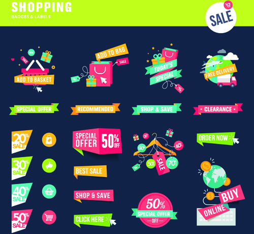 Shopping ribbon labels and badges vector Free vector in Encapsulated