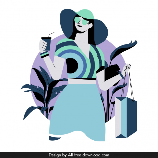 shopping woman icon colored cartoon character sketch