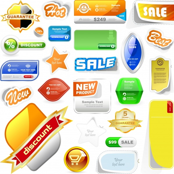sale tags templates colorful modern shapes design