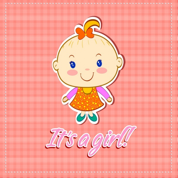 shower card template girl icon colored handdrawn design