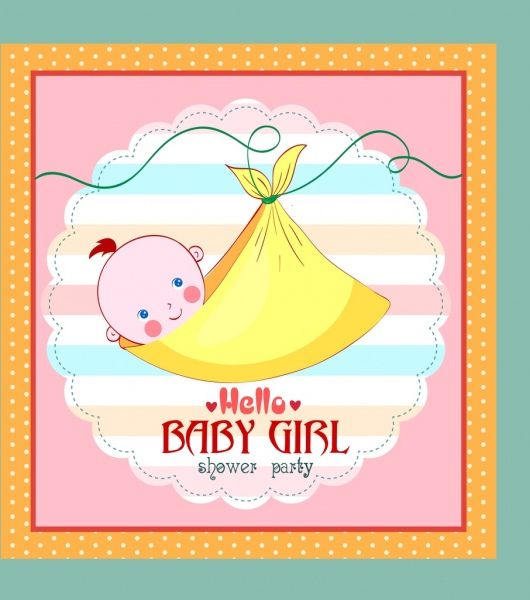 shower card template wrapped baby girl icon