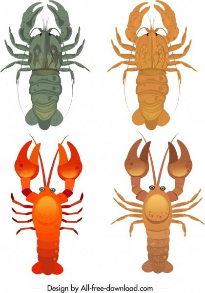 shrimp seafood icons lobster sketch colorful design