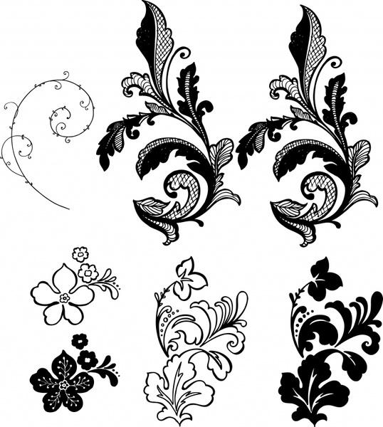decorative floral leaf templates black white classic sketch
