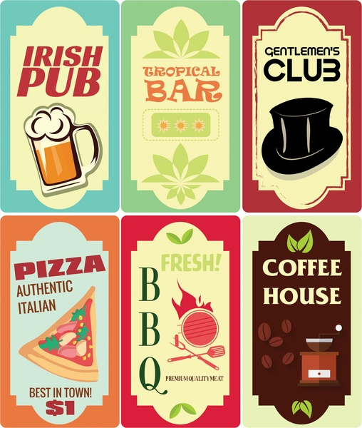 signboard collection design with various vintage styles