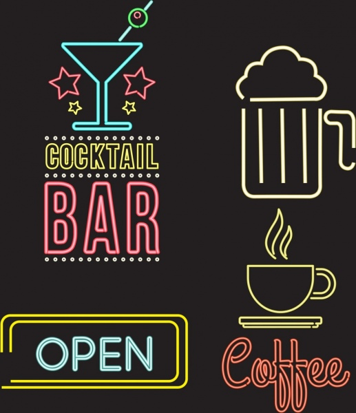 signboard icons collection bright neon decoration