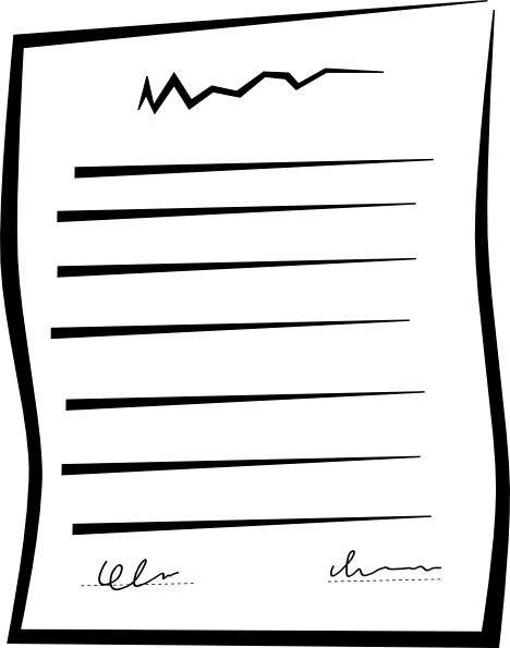 Signed Document Contract Clip Art Free Vector In Open Office Drawing - Art design document