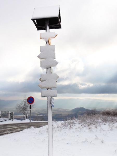 signpost in winter