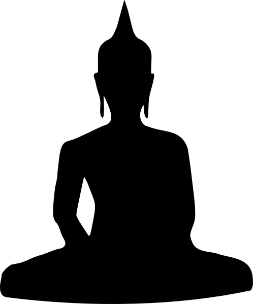 silhouette of buddha sitting clip art free vector in open office