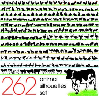 silhouettes of animals design vector
