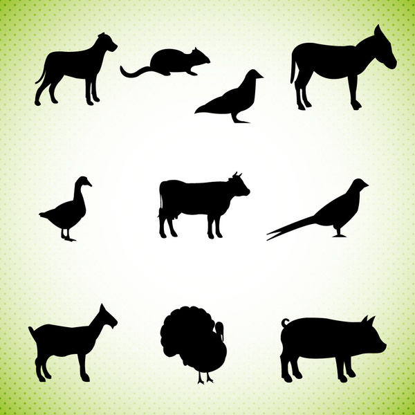 silhouettes of farm animals icons vector illustration