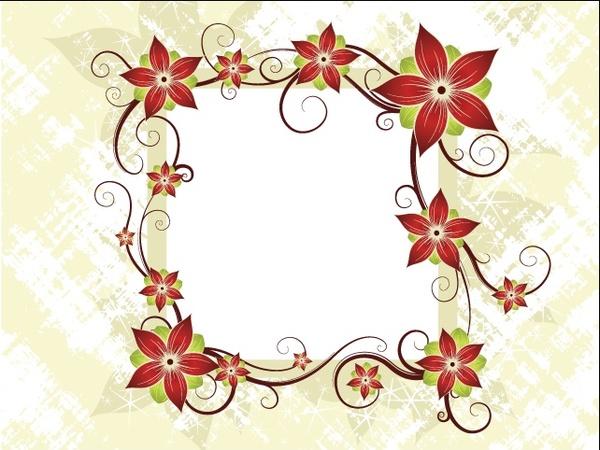 red flowers frame vector illustration