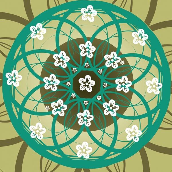 decorative floral background symmetric circle shape sketch