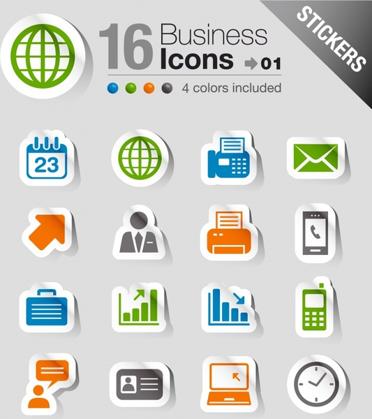 business icons sets shadow paper cut modern design