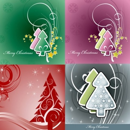 simple christmas tree and stars vector background