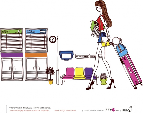lifestyle painting travelling girl sketch colored cartoon design