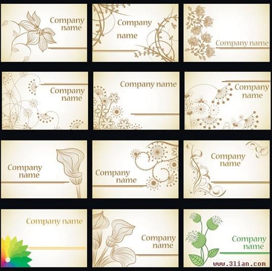 name card templates botanical petals sketch