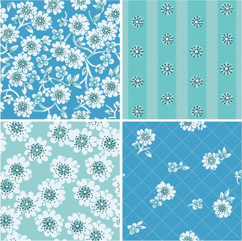 simple flowers seamless pattern set vector
