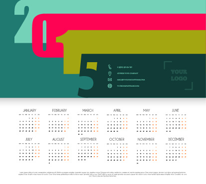 simple grid calendar15 vector set