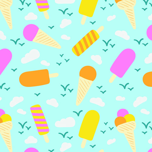 Sweet Ice Cream Flat Colorful Seamless Pattern Vector: Food Icons Seamless Pattern Free Vector Download (48,253