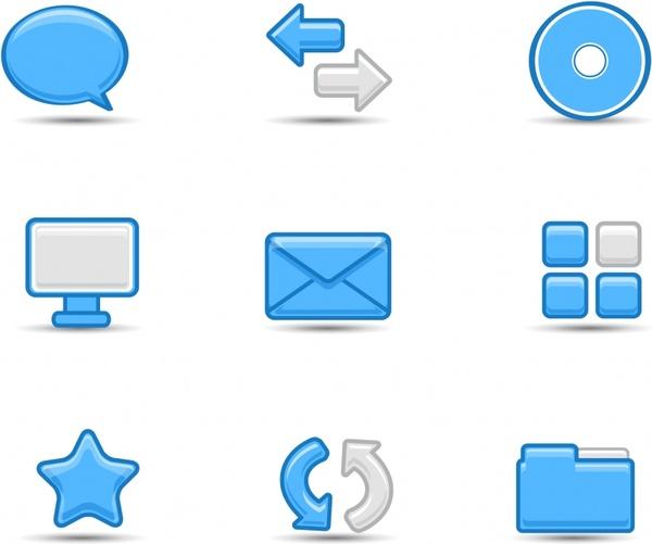 user interface icons blue white flat design