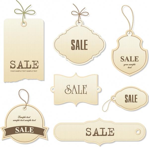 sales tags templates retro flat shapes design