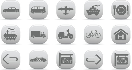 travel icons sets silhouette style rounded squares decoration