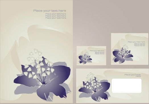 simple vi template vector flowers 3