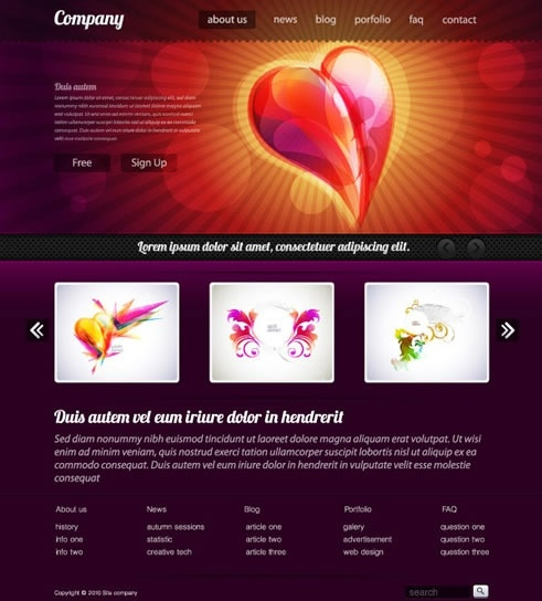 simple web design template vector