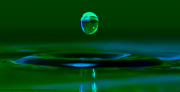 single egg shaped water droplet