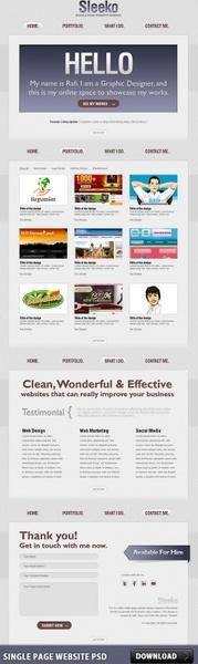 Single Page Website PSD
