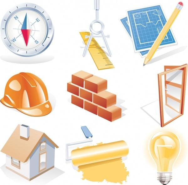 construction work design elements modern 3d icons