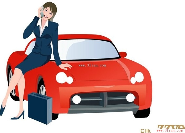 sitting in the car phone vector