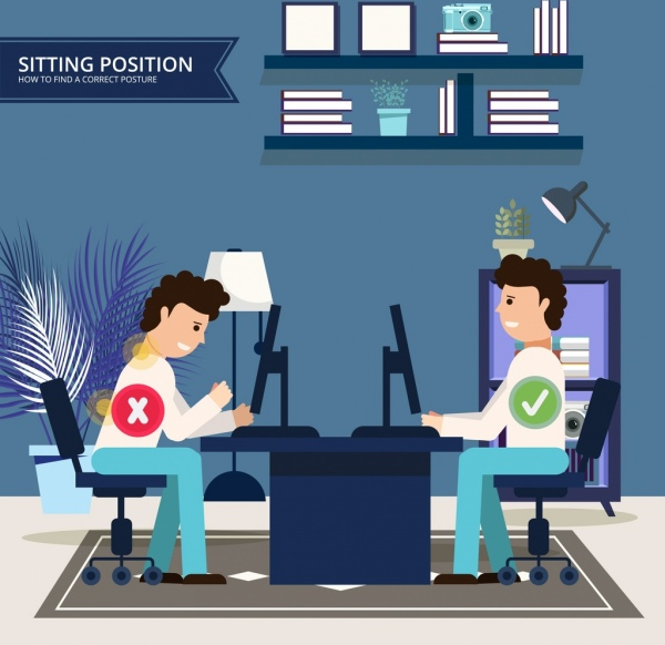 sitting position guidance banner working people tick signs