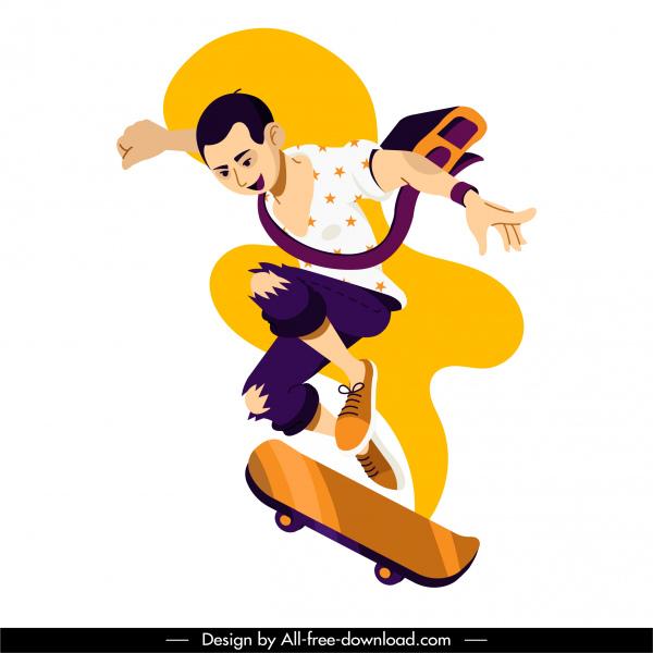 skateboard sport icon dynamic boy sketch cartoon character