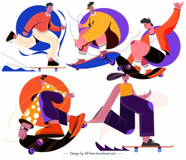 skateboard sports icons dynamic cartoon sketch