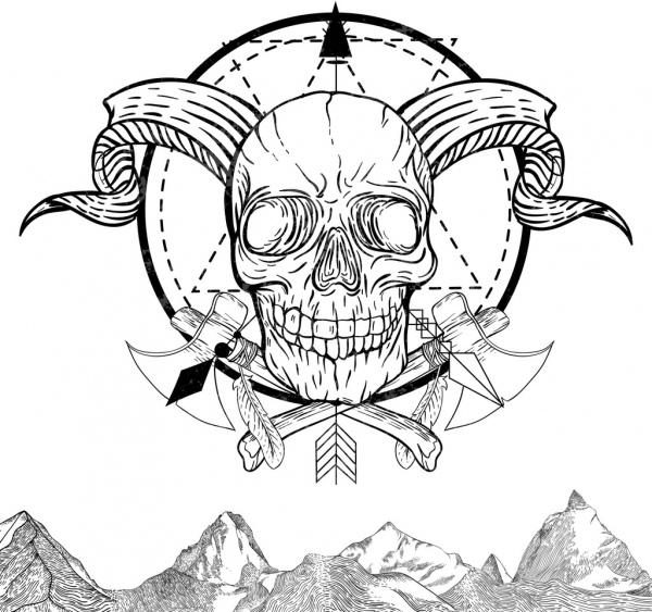 skull tattoo template black white retro sketch free vector in adobe
