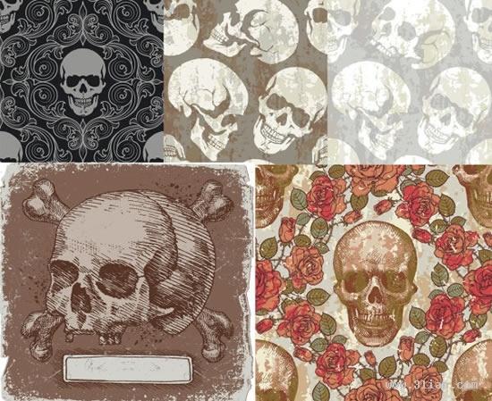 skull background templates horror vintage design